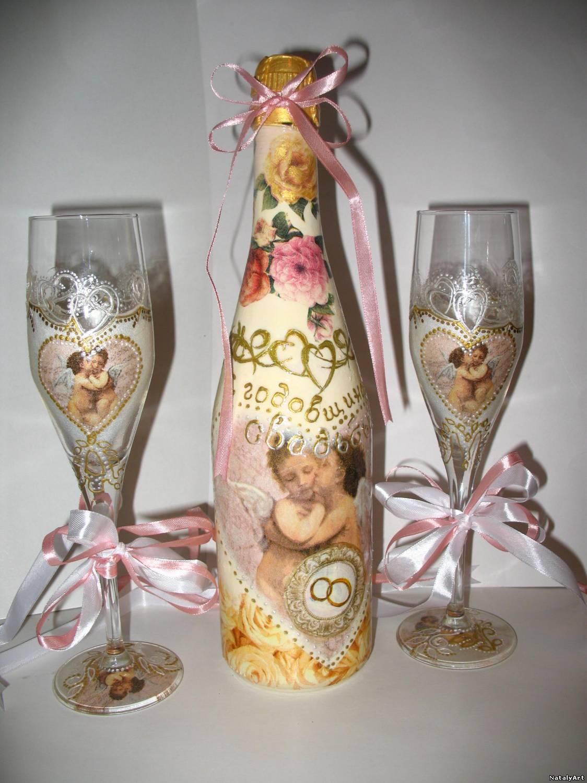 Как украсить фужеры и шампанское своими руками7
